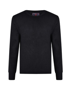 KAM Crew Neck Rib Jumper Navy