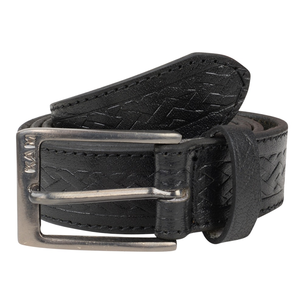 KAM Leather Basket Weave Pattern Belt Black