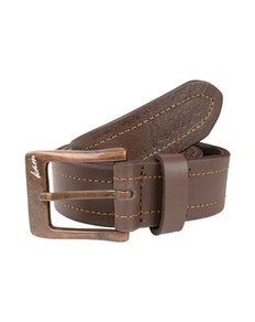 KAM Leather Stitch Pattern Belt Brown