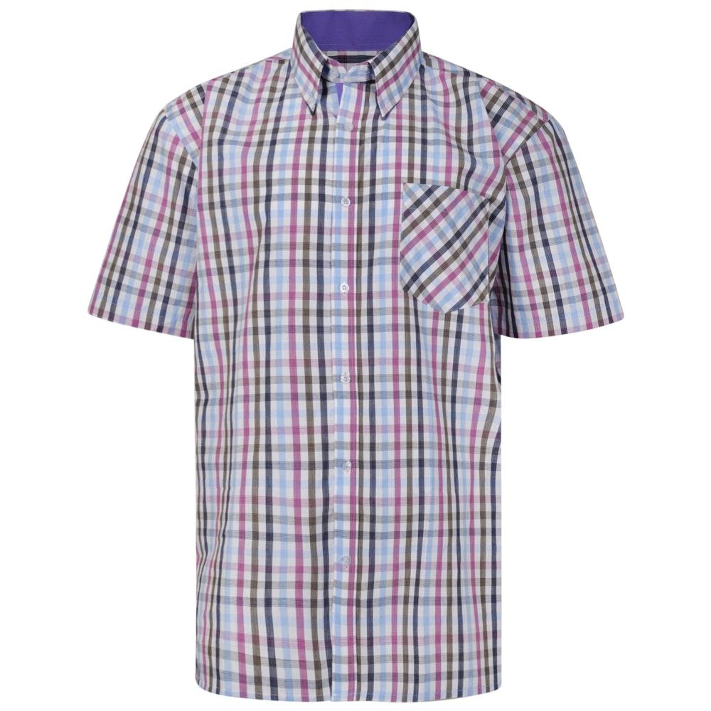KAM Check Short Sleeved Shirt Blue/Berry