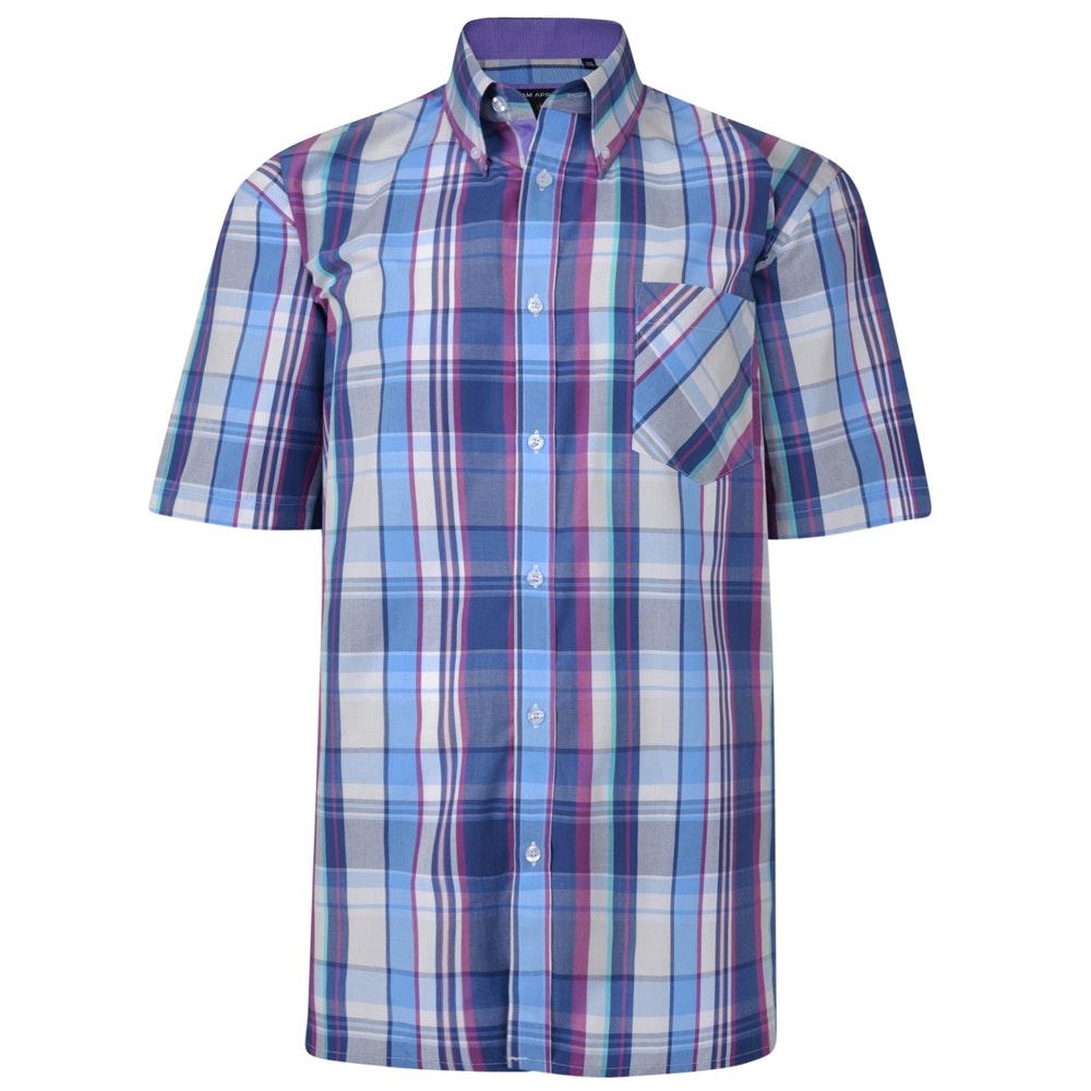 KAM Check Short Sleeved Shirt Purple
