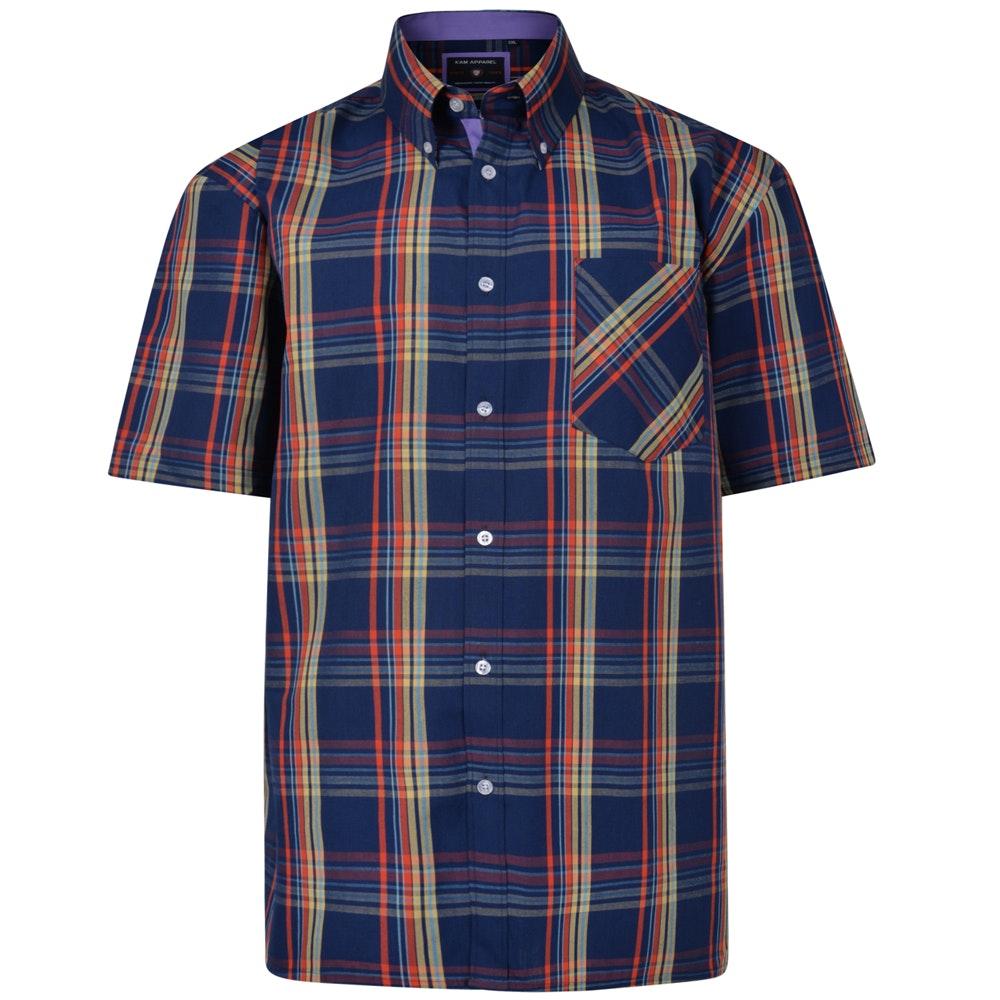 KAM Check Short Sleeved Shirt Navy/Yellow