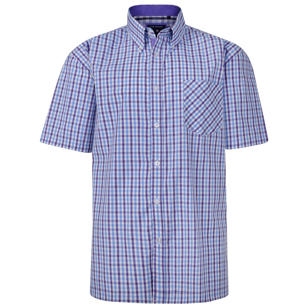 KAM Check Short Sleeved Shirt Purple/Blue