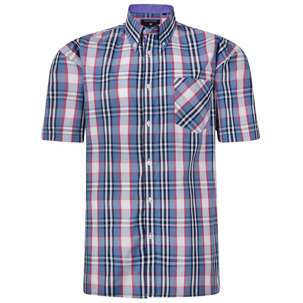 KAM Check Short Sleeved Shirt Demin