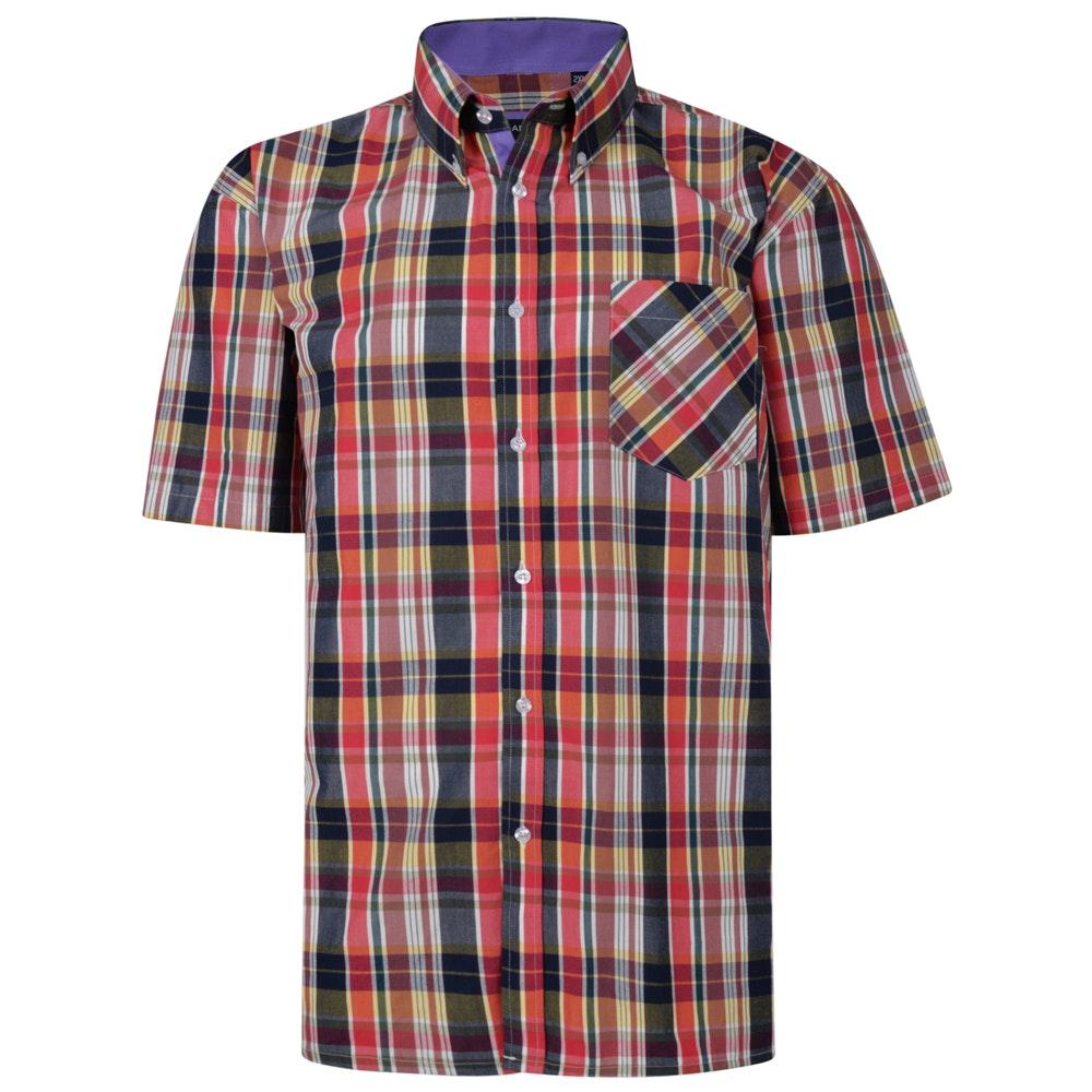 KAM Check Short Sleeved Shirt Red