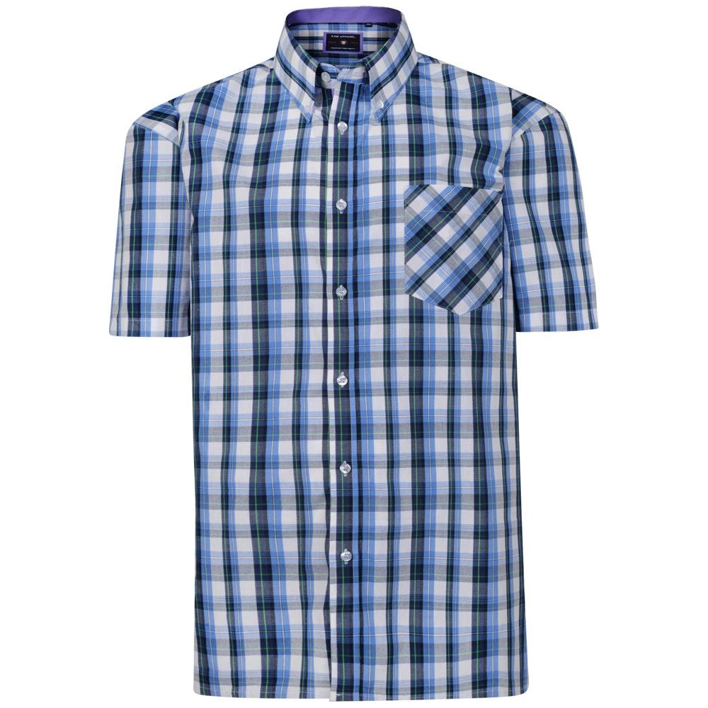 KAM Check Short Sleeved Shirt Blue