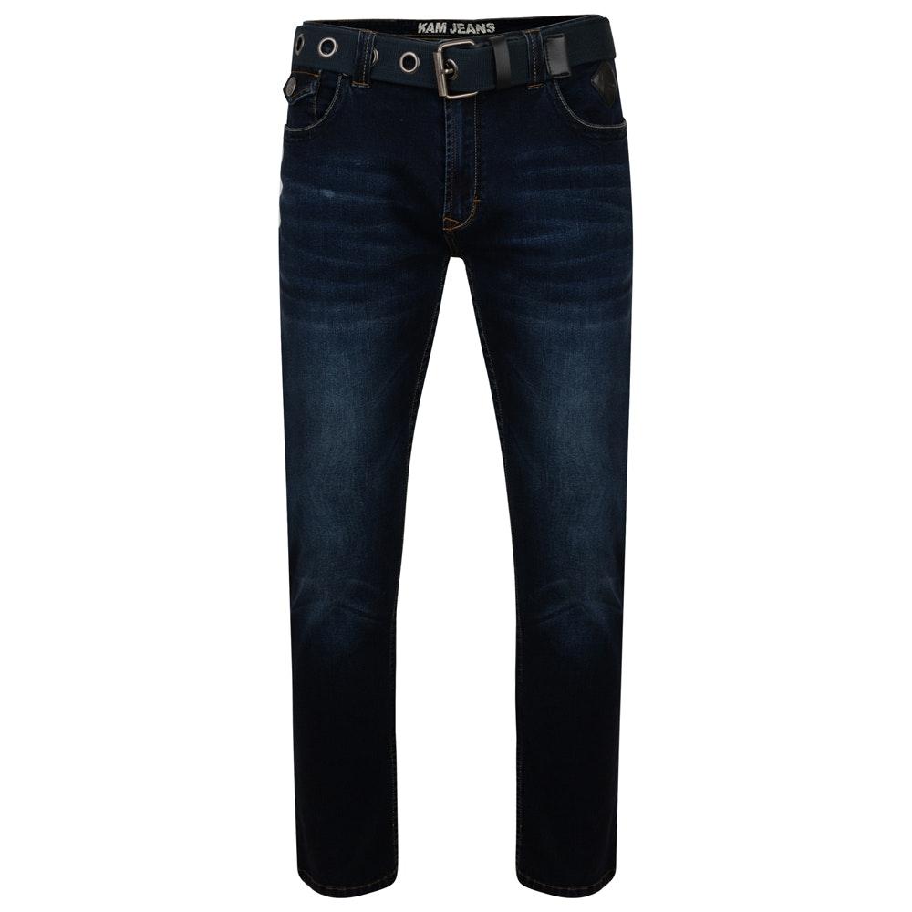 KAM Garcia Belted Stretch Jeans Blue