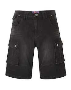 KAM Ivan Denim Cargo Shorts Black