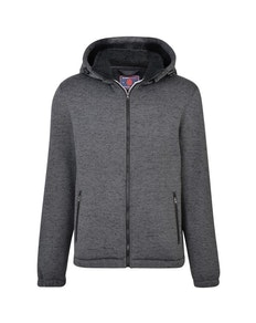 KAM Casual Zip Through Knitted Hoody Charcoal
