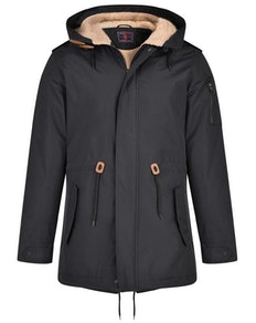 KAM Sherpa Lined Parker Coat  Black