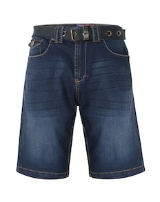 KAM Lopez Belted Denim Shorts Dark Wash