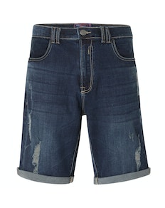 KAM Luca Distressed Denim Shorts Dark Wash