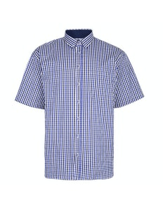 KAM Premium Gingham Check Shirt Blue