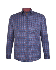 KAM Digital Leaf Print Shirt Navy