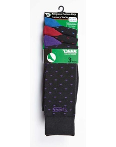 D555 Bolt 3 Pack Patterned Socks