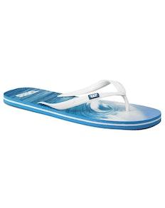 D555 Wave Print Flip Flop Blue