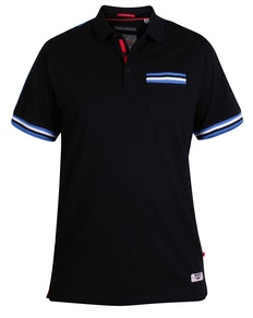 D555 Pickering Taped Shoulder Polo Shirt Black