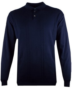 Espionage Cable Front Polo Jumper Navy