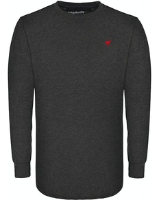 Bigdude Long Sleeve Crew Neck T-Shirt Charcoal