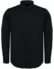 Bigdude Fine Twill Long Sleeve Shirt Black Tall