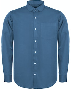 Bigdude Fine Twill Long Sleeve Shirt Blue