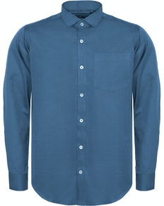 Bigdude Fine Twill Long Sleeve Shirt Blue Tall