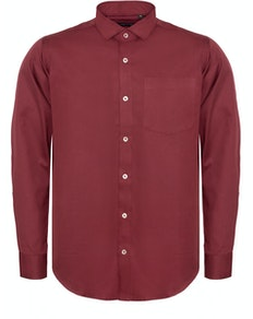Bigdude Fine Twill Long Sleeve Shirt Burgundy Tall