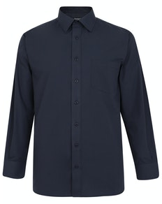 Bigdude Classic Long Sleeve Poplin Shirt Navy Tall