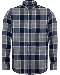 Bigdude Check Flannel Long Sleeve Shirt Navy/Grey