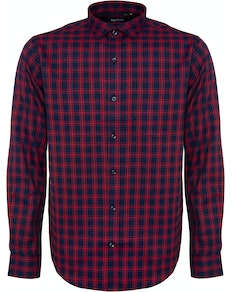 Bigdude Fine Check Long Sleeve Shirt Navy/Red