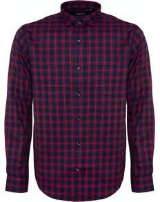 Bigdude Fine Check Long Sleeve Shirt Navy/Red Tall