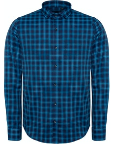 Bigdude Fine Check Long Sleeve Shirt Navy/Turquoise