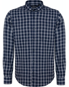 Bigdude Fine Check Long Sleeve Shirt Navy/White
