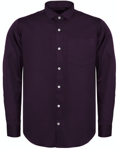 Bigdude Fine Twill Long Sleeve Shirt Plum Tall