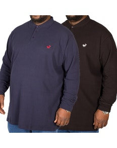 Bigdude Embroidered Long Sleeve Polo Shirt Twin Pack Black/Navy