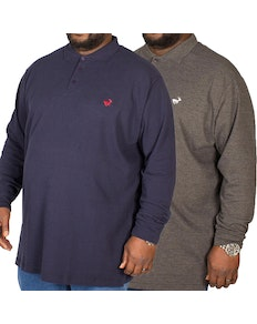 Bigdude Embroidered Long Sleeve Polo Shirt Twin Pack Charcoal/Navy