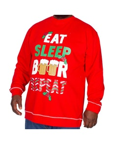 D555 Comet Printed Christmas Sweatshirt Red