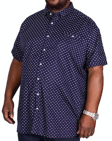 D555 Barrington Printed Short Sleeve Shirt Navy