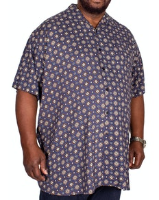 D555 Langford Printed Short Sleeve Shirt Navy