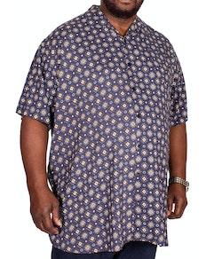D555 Langford Printed Short Sleeve Shirt Navy