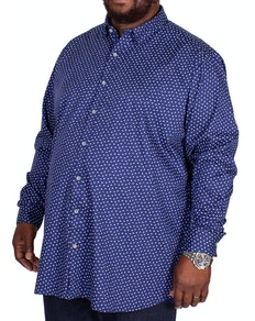 D555 Bainton Printed Long Sleeve Shirt Dark Blue