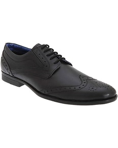 Route 21 Gibson Brogue Black Leather Shoe