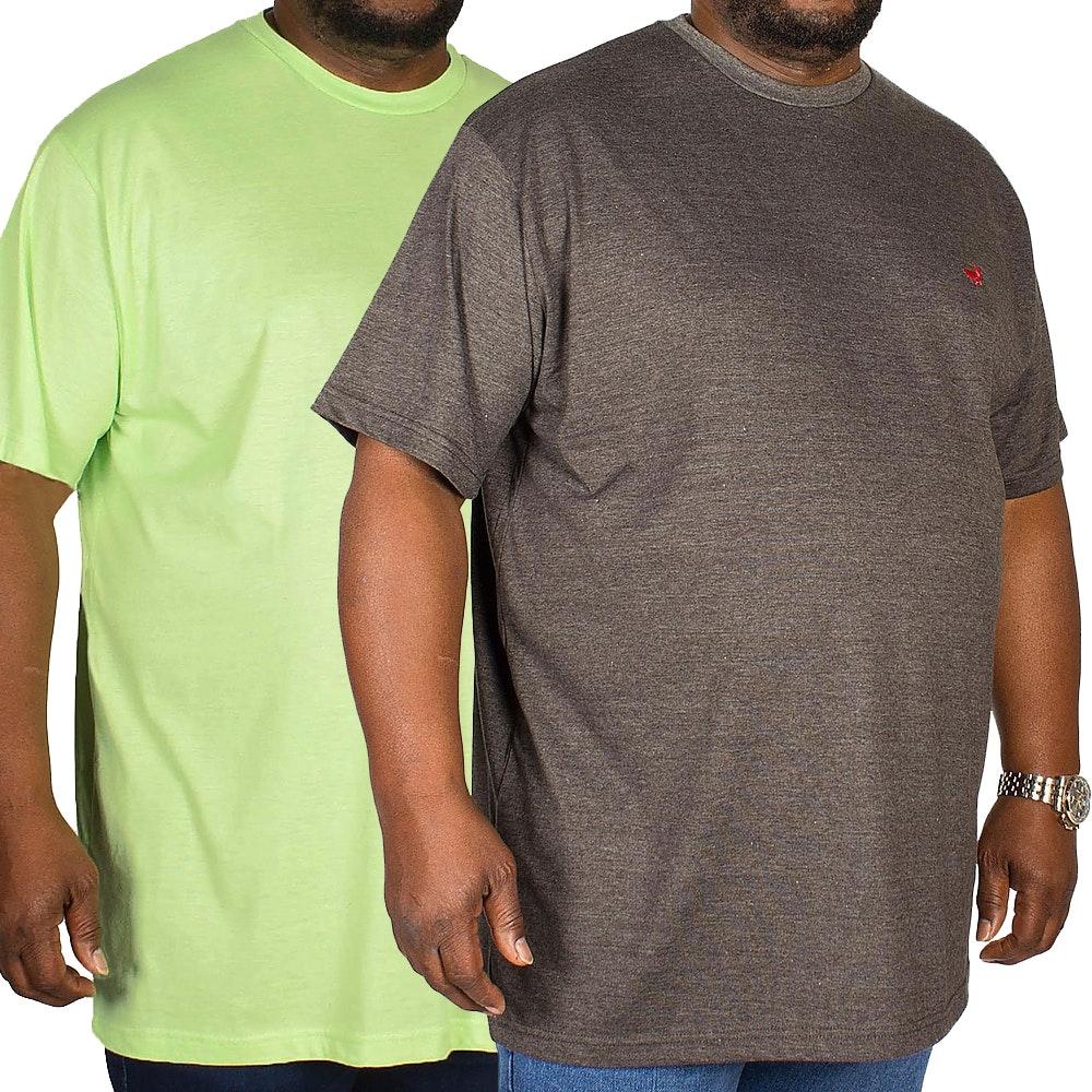 Bigdude Marl Effect T-Shirt Twin Pack Green/Charcoal