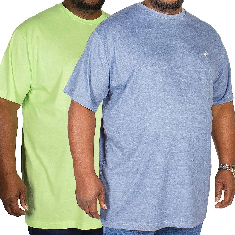 Bigdude Marl Effect T-Shirt Twin Pack Green/Denim