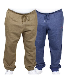 Bigdude Marl Joggers Twin Pack Denim/Khaki