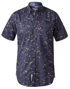 D555 Medway Floral Print Short Sleeve Shirt Navy