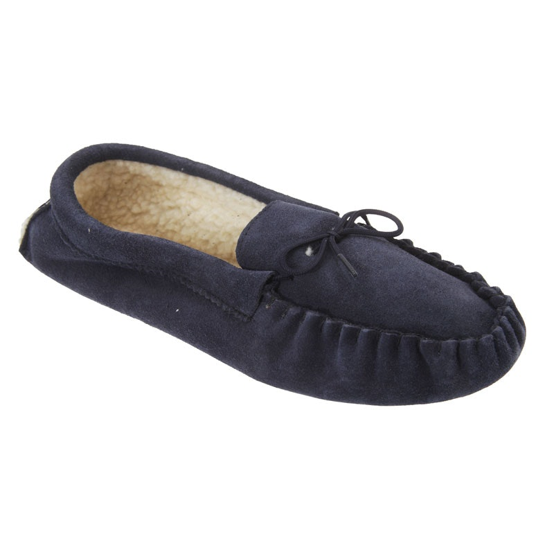 Mokkers Jake Navy Suede Moccasin Indoor Slipper