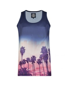 KAM Palm Tree Sunset Vest Navy