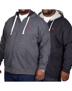 Bigdude Fleece Full Zip Hoody Twin Pack Charcoal/Navy