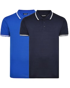 Bigdude Tipped Polo Shirt Twin Pack Navy/Royal Blue